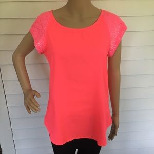 Hot neon pink sequined express blouse